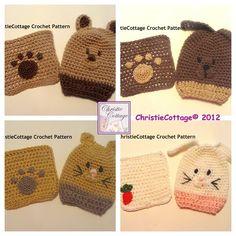 Animal Washcloth and Bath Mitt Set of 8 -Crochet Patterns PDF. $6.99, via Etsy.