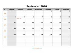 September 2016 Excel Calendar