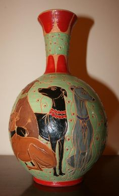 "Italian Greyhound Ceramic Vase. ""PLI III"" by Malens Ceramics. Dogs art."