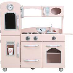 Little Chef Westchester Play Kitchen, Pink - Teamson Kids Play Kitchens | Maisonette Wooden Play Kitchen, Kids Play Kitchen, Mini Kitchen, Play Kitchens, Kidkraft Vintage Kitchen, Uptown Kitchen, Sliding Cupboard, Metal Sink, Toddler Girl Gifts