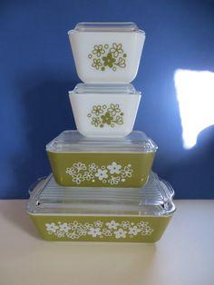 Vintage Pyrex Spring Blossom Refrigerator Dishes Set of 4