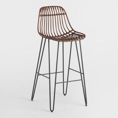 Rattan and Metal Hairpin Flynn Counter Stools Set of 2 - Espresso by World Market