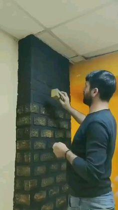 Creative Wall Painting, Diy Wall Art, Diy Wall Decor, Home Decor Hooks, Diy Home Decor, Billard Design, Civil Engineering Design, Wall Design, House Design