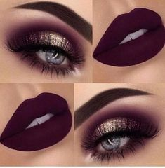 Ideas For Makeup Lips Burgundy Gold Eyes - Ideas For Makeup Lips Bur. - Ideas For Makeup Lips Burgundy Gold Eyes - Ideas. Dark Eye Makeup, Dark Eyeshadow, Eye Makeup Art, Lip Makeup, Makeup Eyeshadow, Dress Makeup, Eyeshadow Ideas, Fall Makeup, Black Makeup For Blue Eyes