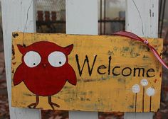 Rustic Yellow  Wood Front Door Sign by sunshinegirldesigns on Etsy, $25.00