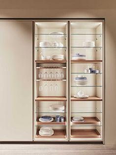 Modern Home Decor Kitchen Kitchen Pantry Design, Diy Kitchen Storage, Glass Kitchen, Modern Kitchen Design, Home Decor Kitchen, Interior Design Kitchen, Contemporary Kitchen Cabinets, Kitchen Cabinetry, Crockery Cabinet
