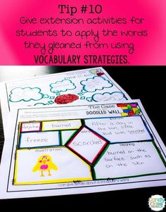 Twelve tips for increasing vocabulary and a free sample: Give extension activities for students to apply the words they gleaned from using vocabulary strategies.