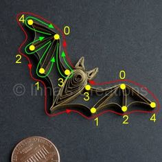 Inna's Creations: Pattern: Quilled bat for Halloween crafts quilling Quilling Dolls, Paper Quilling Flowers, Paper Quilling Patterns, Quilled Paper Art, Quilling Paper Craft, Quilling Craft, Paper Crafts, Quilling Ideas, Origami Paper