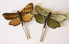 Velvety Moth Brooch / Hair Fork Velvet Upholstery Fabric Five Colors, €28.00 by BlueTerracotta