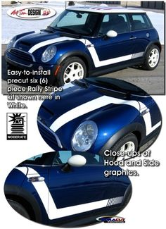 Rally Stripe Graphic kits for Mini Cooper that are Precut and ready to install.