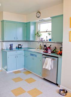 aqua cabinets with yellow/white floor. love it!