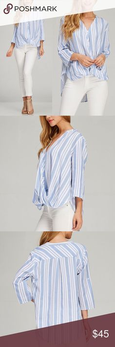 """🆕LEVI hi low button down top - BLUE • Woven button down top • All over striped pattern • 5 buttons in front • High low cut with gathered front hem • Sleeve cuff strap with button  • Model is 5` 8"""" 32B-24-35 and wearing a size Small  Fabric 65% rayon 35% polyester   🚨🚨NO TRADE, PRICE FIRM🚨🚨 Bellanblue Tops"""