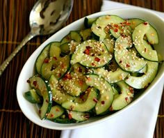 Low Carb Miso Cucumber Salad. (Brown Rice Miso, rice vinegar, sesame oil, honey, crushed red pepper flakes, sesame seeds)