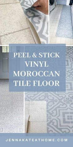 How to install DIY Vinyl Peel & Stick Moroccan Tile. These are a quick and easy way to cover up old ceramic tiles or ugly linoleum floors in one afternoon!