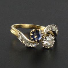 Bague toi et moi ancienne saphir diamants