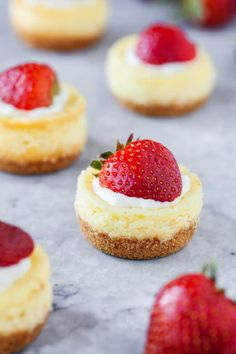 Easy Mini Cheesecakes Want to make a small dessert that's going to be a hit? This mini cheesecake recipe is perfect – easy to make, and they won't last long! Mini Desserts, Small Desserts, Easy Desserts, Delicious Desserts, Dessert Recipes, Potluck Desserts, Birthday Desserts, Italian Desserts, Sweet Desserts