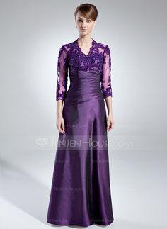 Corte A/Princesa Escote en V Hasta el suelo Tafetán Tul Vestido de madrina con Volantes Encaje Bordado Lentejuelas (008005866)