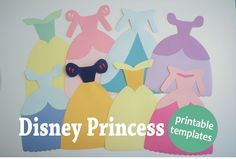 Choose from 6 free templates and download instantly to print your own Disney Princess dress paper cutout. Featuring Cinderella, Snow White, Elsa and more!