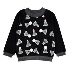 Stan Badminton Lined Velvet Sweatshirt Noir Milk on the Rocks