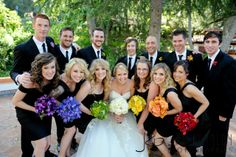 rainbow wedding - mismatched black bridesmaids gowns