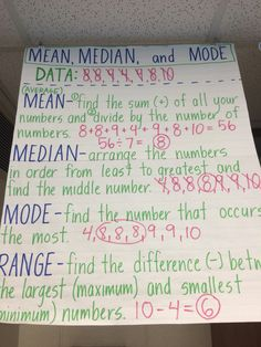Mean, median, mode, and range anchor chart