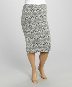 Look what I found on #zulily! Ivory & Gray Lace Pencil Skirt - Plus by MOA Collection #zulilyfinds