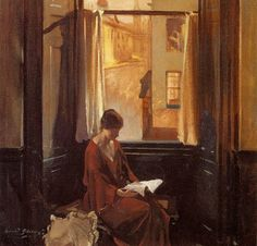 David Alison  1882-1955  Woman reading by a window. This picture reminds me of my mother who I would always find sitting and reading her beloved bible by a window