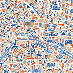 Laffiche sur le thème de Paris contient, parmi dautres attractions, la Tour Eiffel, le Louvre, Notre Dame, les Champs-Elysées, le Sacré Coeur, lArc