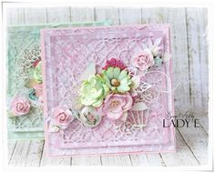 Scrap Art by Lady E: Pink & Mint - 2 Pastel Cards - Wild Orchid Crafts DT