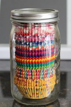 Will Mason jars ever run out of clever new uses? Keep cupcake liners clean and accessible in the pantry by popping them inside the jars. Cookbook author Julie Wampler of Table for Two came up with this efficient storage solution.