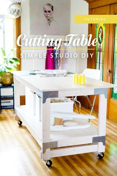 Closet Case Files: Cutting Table DIY - Love the size of this and that it can be rolled out of the way.