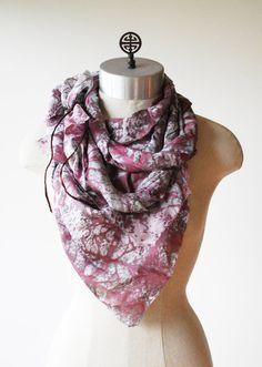 Ooak silk scarf unique silk scarf infinity scarf by 88editions