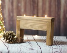 Reclaimed Wood Candle Holder  Approx Measurements: 5-6 in Height 5-6 Length   Stained a warm chestnut  May have knots, cracks or imperfections. Looking to add some texture to your space? Whether you live in the county or your home is in the city, you don't have to live in a barn to embrace rustic country charm. Is it shabby? Is it chic? It's both!  Makes a wonderful gift as well. So if you know someone who just loves the country rustic look, give them something to brighten their own décor…