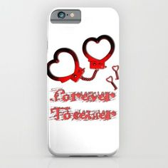 Forever together, in BDSM way, Valentine's day design, red cuffs and keys, fetish lover iPhone & iPod Case