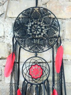This black crochet dreamcatcher with red feathers is a perfect housewarming gift, birthday gift, Mother`s day gift and even an anniversary gift or Christmas gift. Dream catchers are not just beautiful bohemian home decors. Those are perfect gifts for loved ones because dream