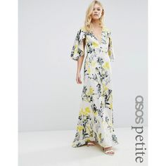 ASOS PETITE Ruffle Cape Deep Plunge Floral Maxi Dress (140 AUD) ❤ liked on Polyvore featuring dresses, multi, petite, ruffle maxi dresses, plunge neck dress, maxi dresses, petite maxi dresses and cap sleeve dress
