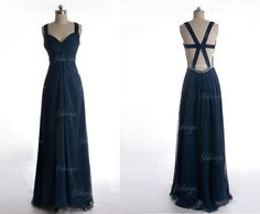 navy blue prom dress long prom dress backless prom by fitdesign, $119.00