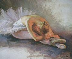 Painting by Serguei Zlenko - Ballet, балет, Ballett, Bailarina,  Dancer, Dance, Danse, Danza, Танцуйте, Dancing, Russian Ballet