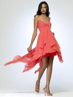 Citrus colored chiffon dress with twist and ruched bust [#P5075C35550145] - $218.00 : Crazeparty.com, Dare to be Different!