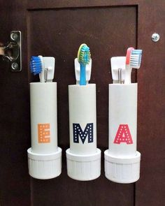 All you need is a PVC pipe, command hooks and a drill to make toothbrush holders that safely tuck aw... - Crafting in the Rain