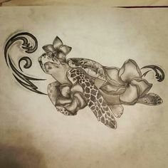 Sea turtle, Hawaiian flowers, waves, ocean, tattoo drawing by chelsie haeg