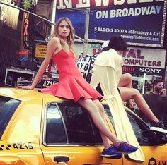 Inside DKNY's Times Square Photo Shoot Starring Cara Delevingne