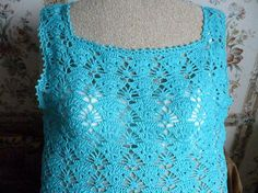 Crochet Top Tunic Summer sleeveless Ladies beach blue