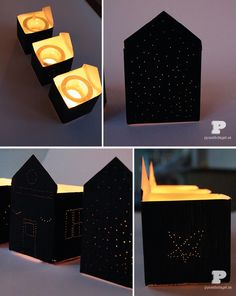 DIY using milk cartons http://pysselbolaget.se/2013/10/08/halloweenhus-diy-halloween-houses/