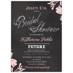Floral Mod Chalk Bridal Shower Invitations
