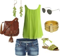 Simple summer oufit.....GREEN!, created by jaimi-ostergar on Polyvore