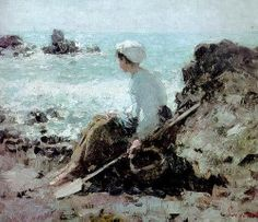 Fishermen in Grandville, 1884 Nicolae Grigorescu Painting Photos, Impressionism, Art Painting, Russian Painting, Eclectic Art, Plein Air Paintings, Painting, Art, Beach Art