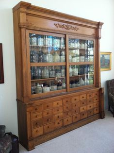 This apothecary was originally from Cox's Pharmacy in Seymour, Indiana (circa 1890). That is some great drawers!