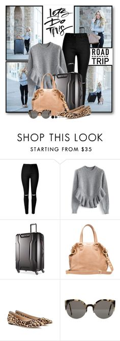 """Let's Do This!"" by brendariley-1 ❤ liked on Polyvore featuring Chicwish, Samsonite, Gianvito Rossi, RetroSuperFuture, BERRICLE, women's clothing, women, female, woman and misses"