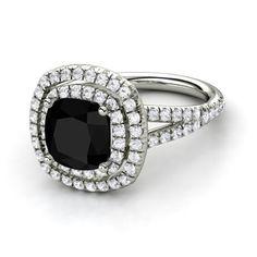 Cushion Black Onyx 14K White Gold Ring with White Sapphire - Lillian Ring (8mm gem) | Gemvara